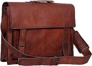 leather 46cm Mens Leather Messenger Briefcase Shoulder Laptop Satchel Messenger Bag