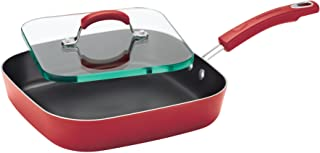 Rachael Ray Classic Brights Hard Enamel Nonstick 11-Inch Square Deep Griddle and Glass Press, Red Gradient - 14485