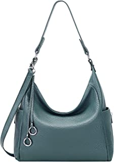OVER EARTH Genuine Leather Purses and Handbags Shoulder Bags For Women Ladies Hobo Purse Crossbody Bag Large(O148E Teal Blue)