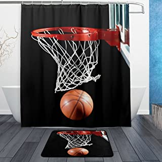 ALAZA Set of 2 Sports 60 X 72 Inches Shower Curtain and Mat Set, Basketball Waterproof Fabric Bathroom Curtain and Rug Set with Hooks