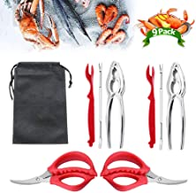 9Pcs Seafood Tools Set Crab Lobster Crackers Stainless Steel Forks Opener Shellfish Lobster Crab Leg Sheller Nut Crackers