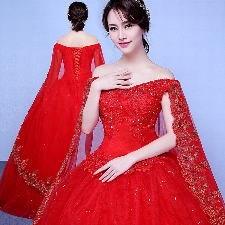 DIDIDD Wedding Dress Bride Word Shoulder Wedding Dress Big Size Wedding Dress was Thin Princess Princess Puff Skirt Wedding Dress
