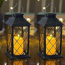 Set of 2 Outdoor Solar Candle Lantern Flickering Flameless LED Candle/Plastic Hanging Lantern Golden Brushed Decorative La...
