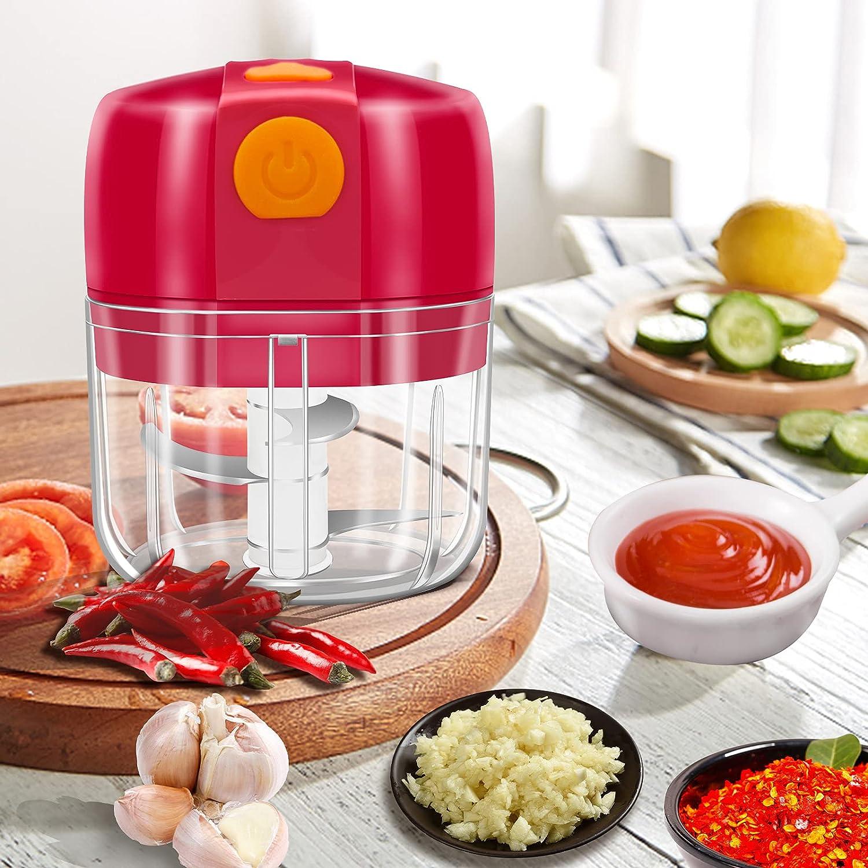 Electric Garlic Chopper 300ml, Mini Garlic Chopper Powerful Garlic Blender Mincer for Onion/Vegetables/Meat/Nuts/Baby Food, Portable Food Processor Mini Food Chopper with USB Charging-Red