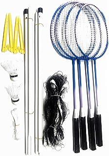 Elite Badminton Rackets 4 Pack, Badminton Set, 4 Nylon Rackets, 4 Player Sport Badminton Nets, 2 Badminton Birdies/Balls Sports Portable Outdoor Indoor Beach Game for Adults Kids