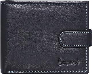Laveri Bifold Wallet for Men - Leather, Black and Blue