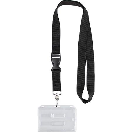 Porte-carte de Sécurité pour 2 Cartes Format 54 x 86 mm avec tour de cou Boîtier rigide Fermé Transparent (Tour de cou, 1)