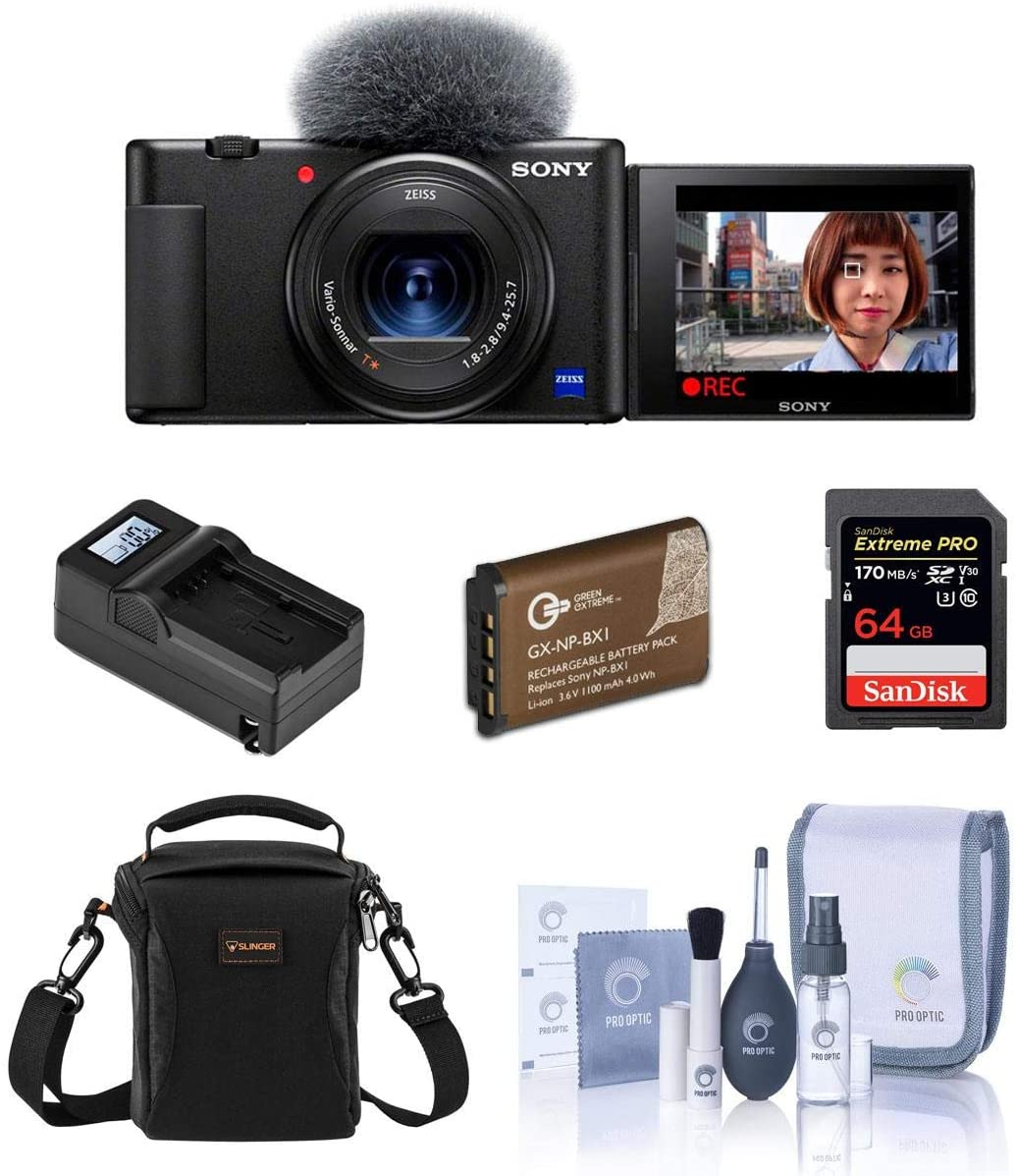 Sony Manufacturer direct delivery ZV-1 Compact Online limited product 4K HD Digital Essential w Bundle Camera Black