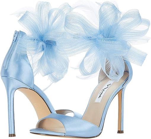 Sky Blue Crystal Satin Mesh/Feathers