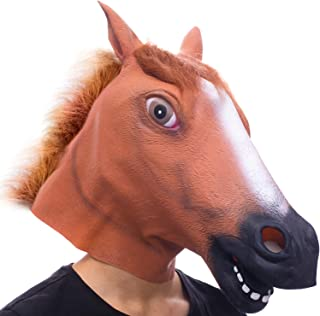 Halloween Costume Party Novelty Animal Head Mask Funny Brown Horse