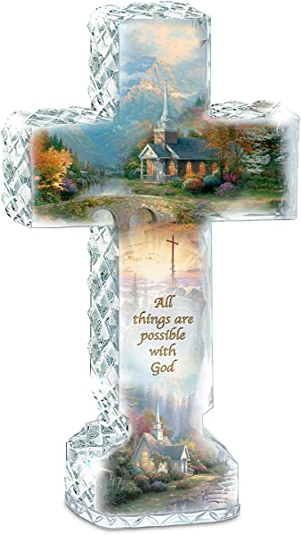 The Bradford Exchange Thomas Kinkade Faceted Crystalline Cross With Chapel Art And Uplifting Message