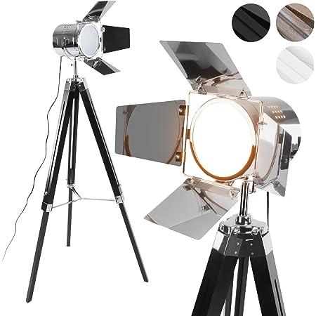 Jago® Lampadaire Trépied - Type Projecteur de Cinéma, Hauteur Réglable, Bois et Métal, Classe Énergétique de A++ à E, LED, Rétro, Couleurs au Choix - Lampe sur Pied pour Salon (Noir Mat)