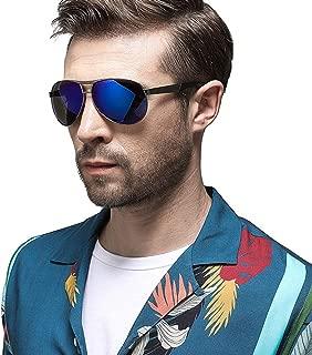 Fashion Outdoor Sports Riding Driving UV Protection Travel Beach Sunglasses Men's Metal Frame Ultra Light Comfort UV400 Sunglasses Retro (Color : Blue)