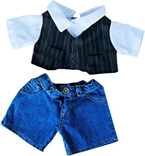 Pinstripe Vest Dress Shirt and Denim Pants Teddy Bear Clothes Fits Most 14