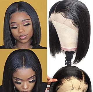 Leeven 100% Human Hair Lace Front Wigs For Black Women 10 Inch Brazilian Virgin Straight Bob Lace Frontal Human Hair Wig with Natural Hairline