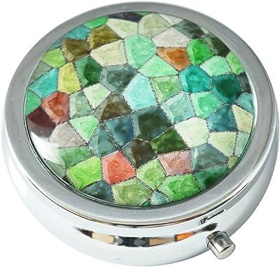 Hiutong Green Sea Turtle Swimming Custom Round Silver Glass Pill Case Metal Decoration Box Unique Gift