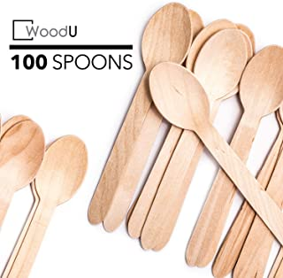 WoodU Disposable Wooden Spoons Natural Birch Wood Biodegradable Utensils Cutlery Eco-Friendly Green (100 pack)