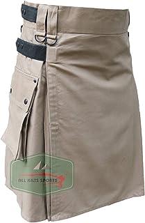 Men's Khaki Leather Straps Utility Kilts