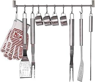 HOMFA Soportes para Utensilios para Olla Sartén Cuchillo Cucharón de Cocina Barra Colgador Utensilios Cocina de Acero Inoxidable 10 Ganchos
