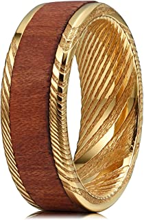 8mm Koa Wood Bubinga Ebony Inlay Damascus Steel Mens Wedding Ring Black Gold Band
