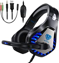 BUTFULAKE Pro Stereo Gaming Headset Compatible with Xbox One S/X,PS4,PS4 Pro/Slim,Nintendo Switch,Laptop,Pad and PC,3.5mm Over-Ear Headphones with Flexible Mic,Volume Control,LED (Black)