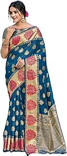 ساري نسائي هندي أنيق من الحرير الخالص مع قطعة بلوزة بتصميم أنيق من أجل الاحتفالية 6064