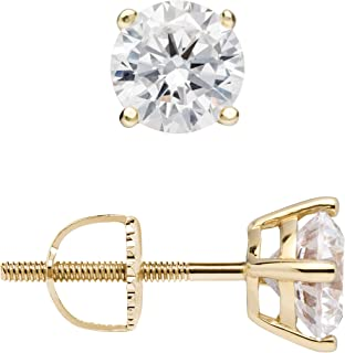 14K Solid Yellow Gold Stud Earrings   Round Cut Cubic Zirconia   Screw Back Posts   .50 to 4.0 CTW   With Gift Box
