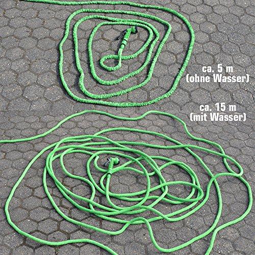 Hochwertiger Gartenschlauch Flexibler Wasserschlauch Schlauch 7-15 m inkl 7fach Multifunktions Sprühkopf - 6