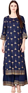 Ortange Womens Rayon Printed Kurta With Palazzo Set