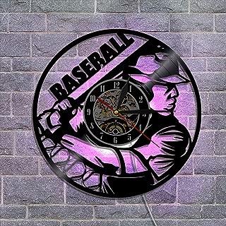 ビニールレコードの壁掛け時計 常夜灯 リモコンサイレントブラック 置き時計 掛け時計 12'' 家の壁の装飾