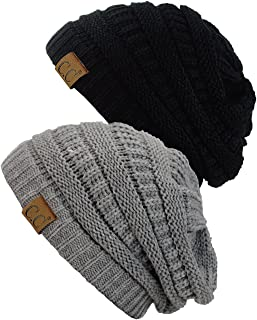 4f198cd82b4 C.C Trendy Warm Chunky Soft Stretch Cable Knit Beanie Skully