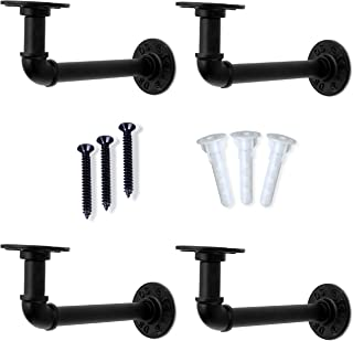Set of 4 Industrial Iron Pipe Shelving Brackets with USA TOGGLER Anchors for Solid and Drywall - 7.1 x 3.2 Inch Elbow Iron...