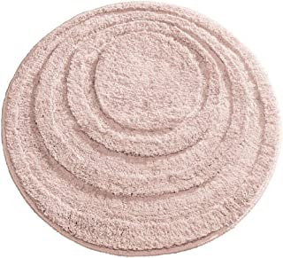 mDesign Soft Microfiber Polyester Non-Slip Round Spa Mat, Plush Water Absorbent Accent Rug for Bathroom Vanity, Bathtub/Shower - Concentric Circle Design, Machine Washable - Light Pink