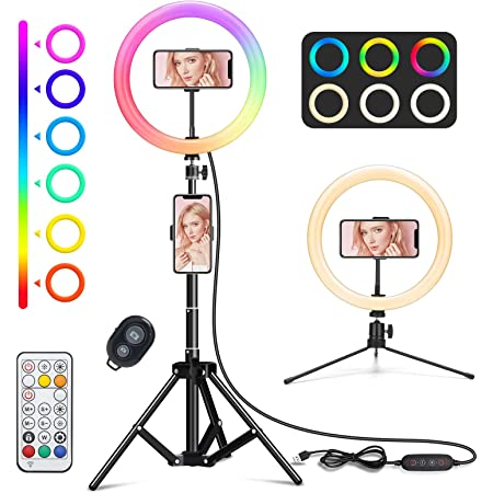 """WWDOLL 10"""" Anillo de luz LED Fotografía, Aro de luz para Móvil TikTok, Control Remoto Bluetooth, 3 Modos de Luces y 9 Brillos Regulables para Youtube Vídeo Maquillaje Selfie"""