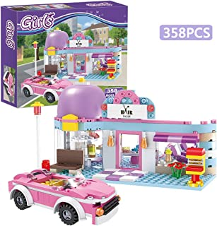 BRICK STORY Girls Friends Hair Salon Building Blocks Toys 358 Pieces Shampoo Bed Swivel Chair Counter Pink Convertible Car Bricks Toys for Girls 6-12 Education Construction Play Set for Kids 4545