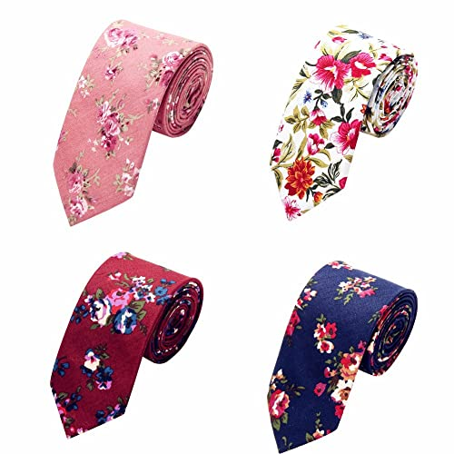 97121ee1a546 AUSKY 4 Packs Fashion Floral Skinny Neckties for Men Boys in Different Color