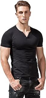 XShing Mens Short Sleeve V Neck Henley Shirts Slim Fit Casual Tee