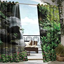 Andrea Sam Balcony Curtains Waterfall Decor Collection,Waterfall Pond Flowers and Tropical Plants in Garden Pattern,Green Pink Grey,W96 xL108 Silver Grommet Top Drape