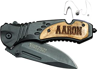Engraved Personalized Wood Handle Rescue Pocket Knife - Father's Day Groomsmen Gifts - All Black Knife