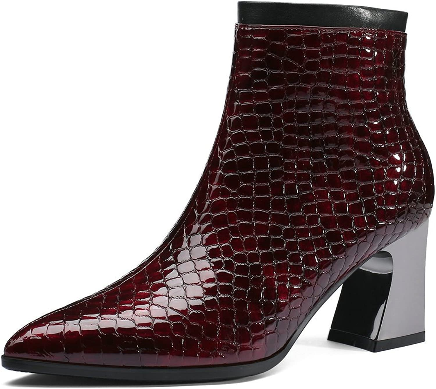 AnMengXinLing Fashion Ankle Boots Women Block High Heel Platform Patent Leather Pointed Toe Side Zip Cowboy Booties