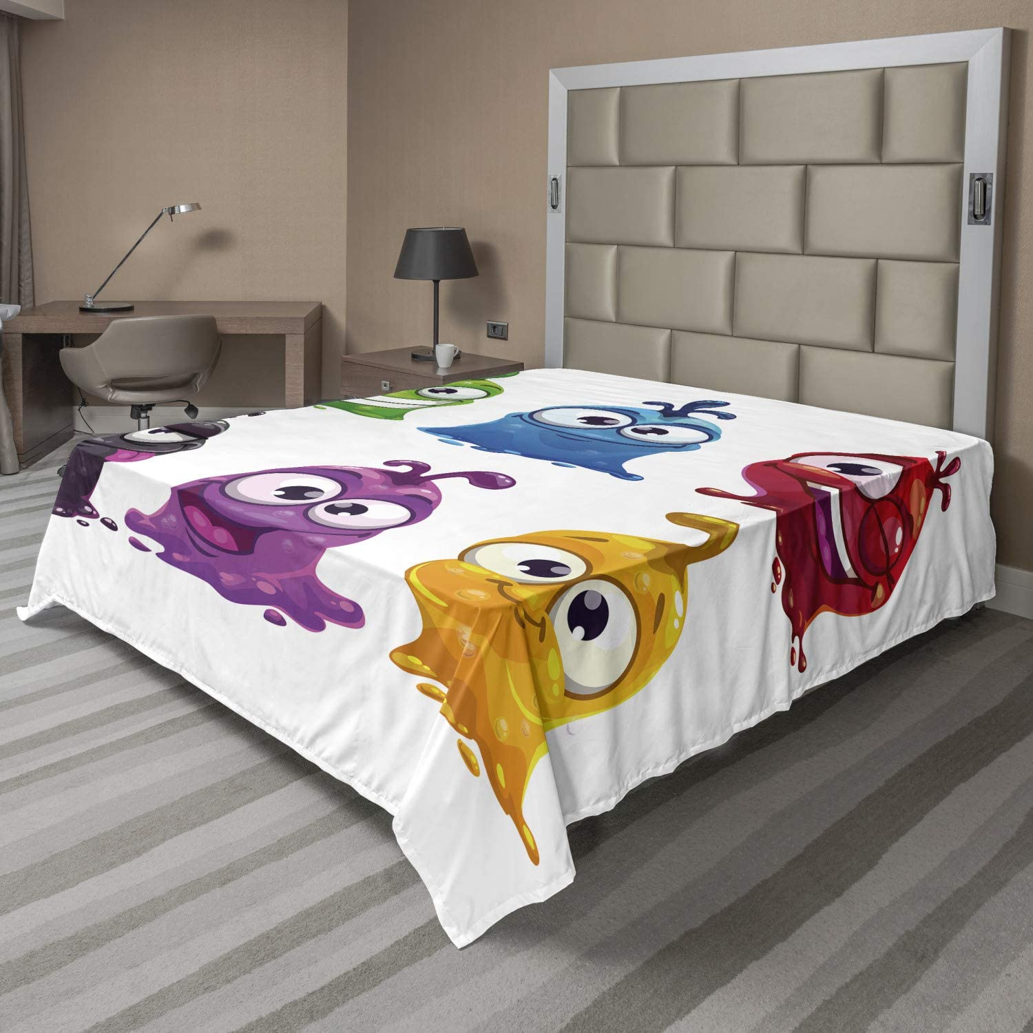Lunarable Funny Flat Sheet Cartoon Liquid Character Creatures Limited Special Price Super intense SALE B