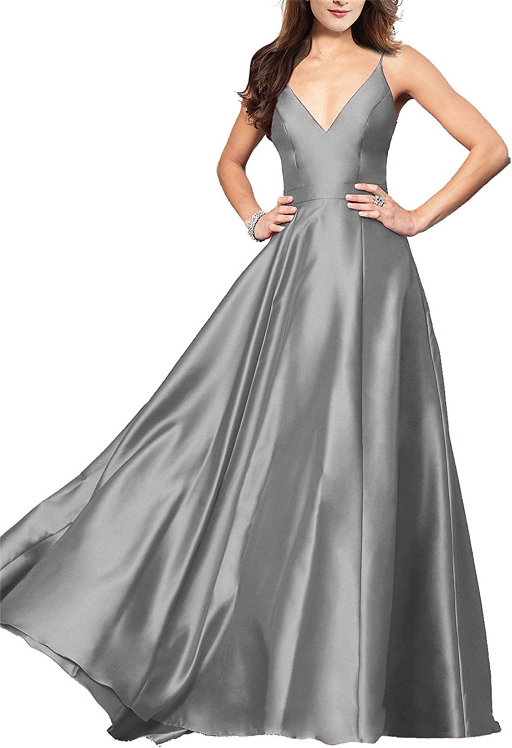 Lily Wedding Womens VNeck Satin Prom Dresses 2019 Long Aline Sleeveless Formal Evening Ball Gowns GD48 Plus Size 24 Grey