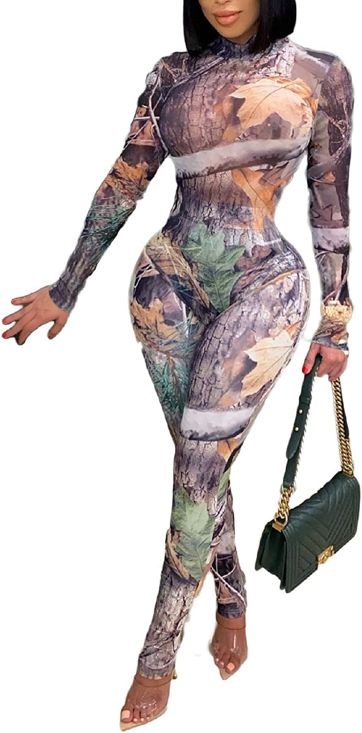 Women's Two Piece Outfits Sexy See Through Long Sleeve Printed Bodysuit Sheer Mesh Skinny Pants Club Jumpsuit Rompers
