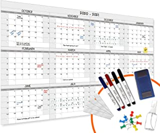 $29 » HEA Large Dry Erase Year Wall Calendar | Premium New Laminate | Blank Undated, Reusable & Erasable 12 Month 2021 Annual Pl...