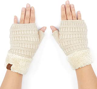 Fingerless Gloves Fuzzy Lined Knit Wrist Warmer Solid Ribbed Glove (FLG-25)