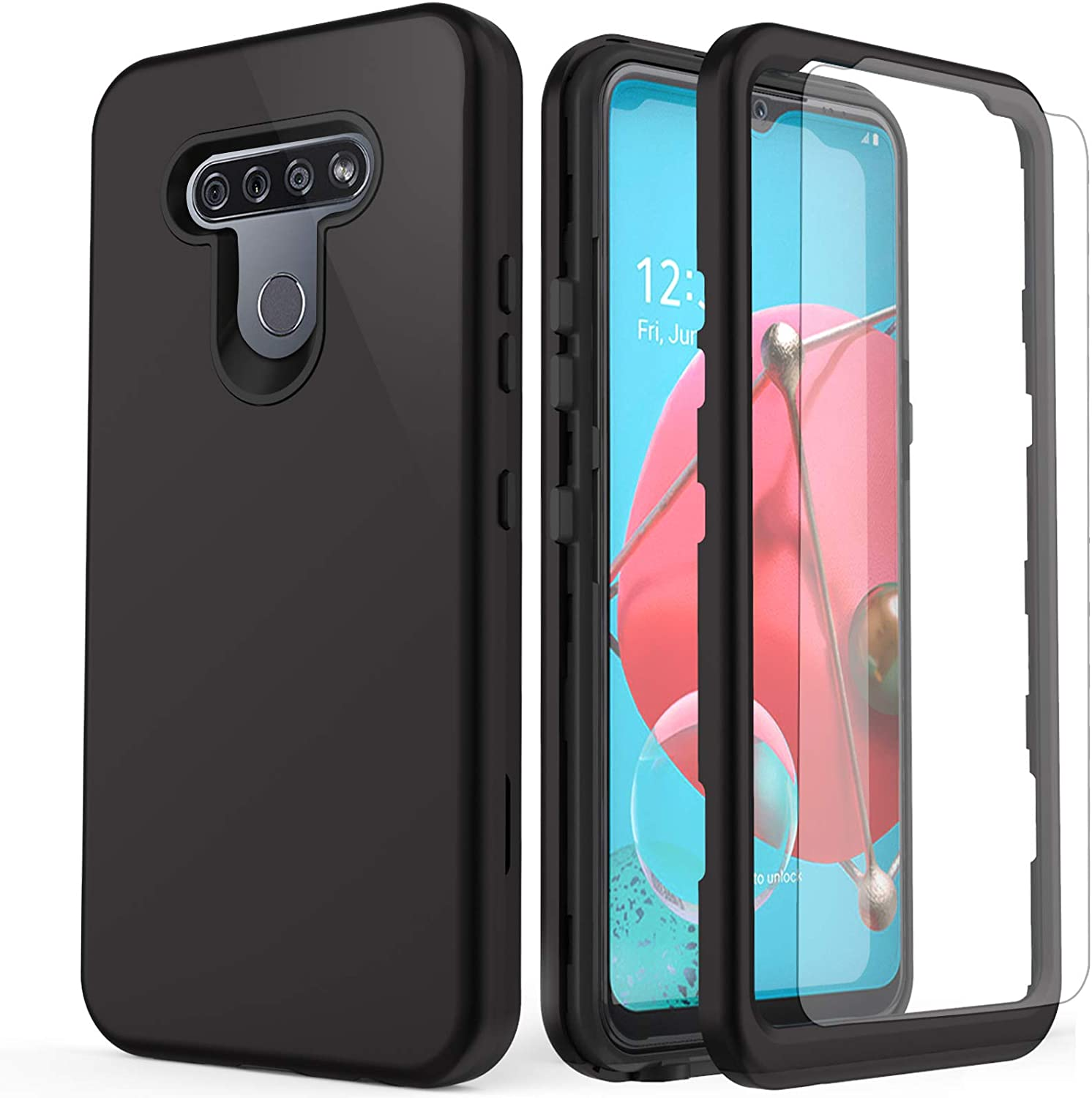 AMENQ Case for LG K51 Phone, Reflect L555DL/LG Q51 Case, [Built-in Screen Protector] Three Layers Full Body Heavy Duty Shockproof TPU Bumper and PC Armor Hard Protective Phone Cover (Black)