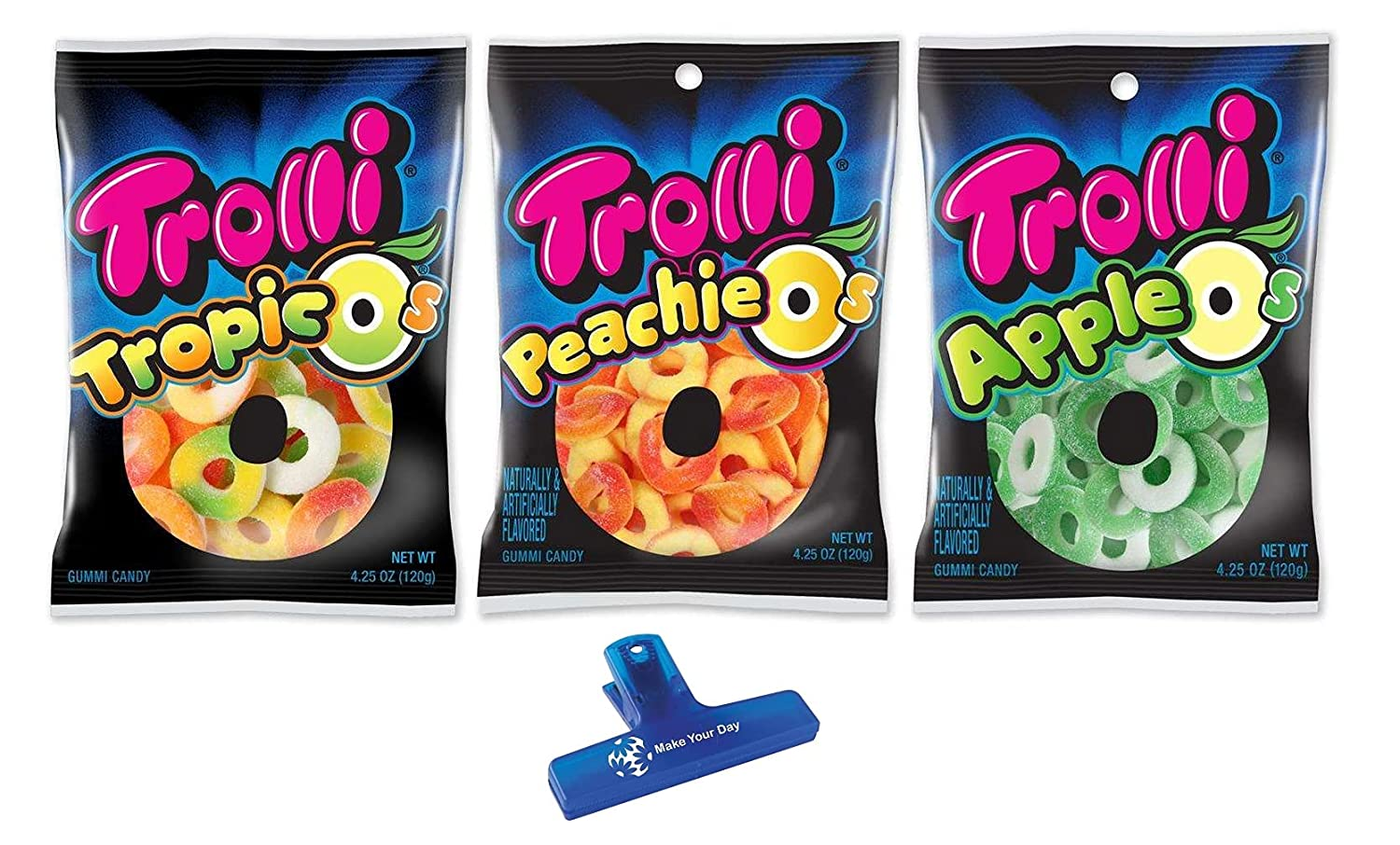Trolli Gummy Candy, Tropic O's, Peachie O's, and Apple O's, 4.24 Ounce (Pack of 3) - with Make Your Day Bag Clip
