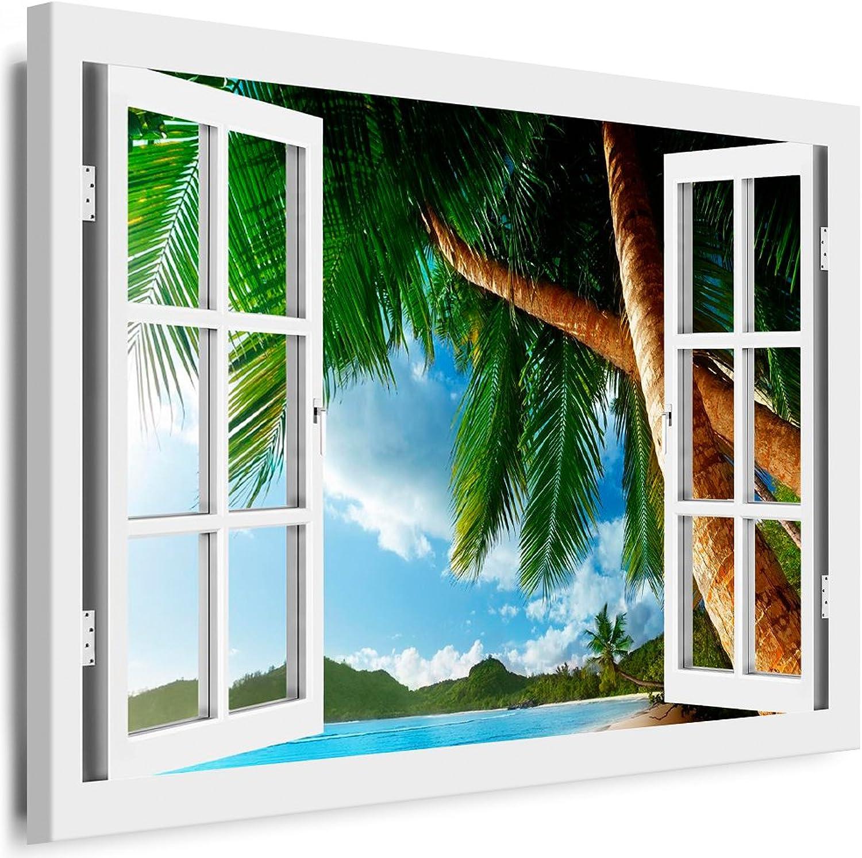 BOIKAL XXL77-6 Fensterblick Leinwand bild 3D Illusion - - - FERTIG GERAHMTE BILDER Kein POSTER     Wandbild 120 x 100 cm Weiß   Farbe - Große 21 Variante wählbar   Fenster Kunstdruck Landschaft Sonne, Strand Meer, Palmen B017PGTNEK 041de1