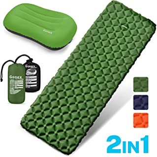 Gonex Air Sleeping Pad, Lightweight 13.7 OZ Camping Pad, Includes 2.8 OZ Inflatable Travel Pillow, Waterproof, Inflatable & Compact Camping Mat for Backpacking, Hiking & Outdoor Activities