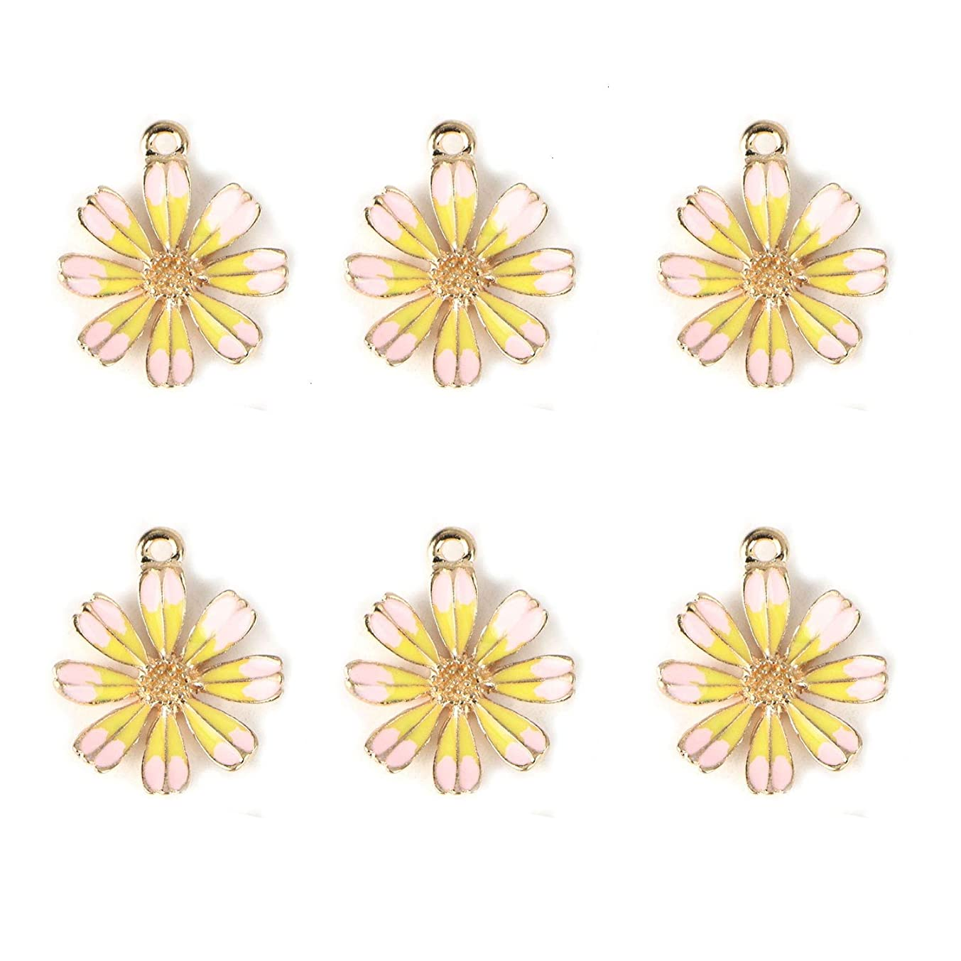 Monrocco 10Pcs Enamel Flower Charms Enamel Chrysanthemum Charm Pendants for Jewelry Making Bracelet Necklace